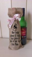 Personalized Dear Santa Wine Father Christmas Xmas Santa Sack / Stocking Bag Jute Hessian